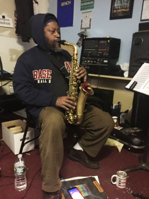 Aaron Martin practicing in his studio. (Photo by Eli Fosl)